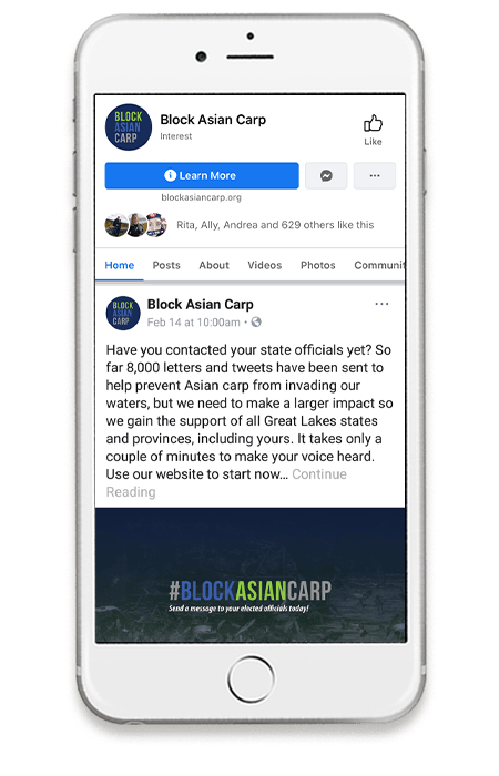"Smart phone with a ""Block Asian Carp"" Facebook post on screen."
