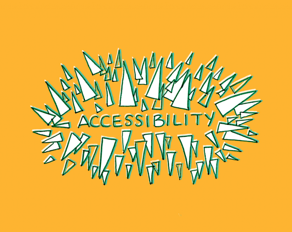 """Illustrated spikes surrounding the word, """"Accessibility."""""""