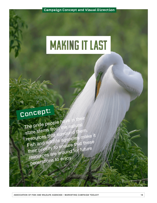 "AFWA campaign tool kit sample page with the campaign tagline, ""Making it last."" and an image of a white bird."