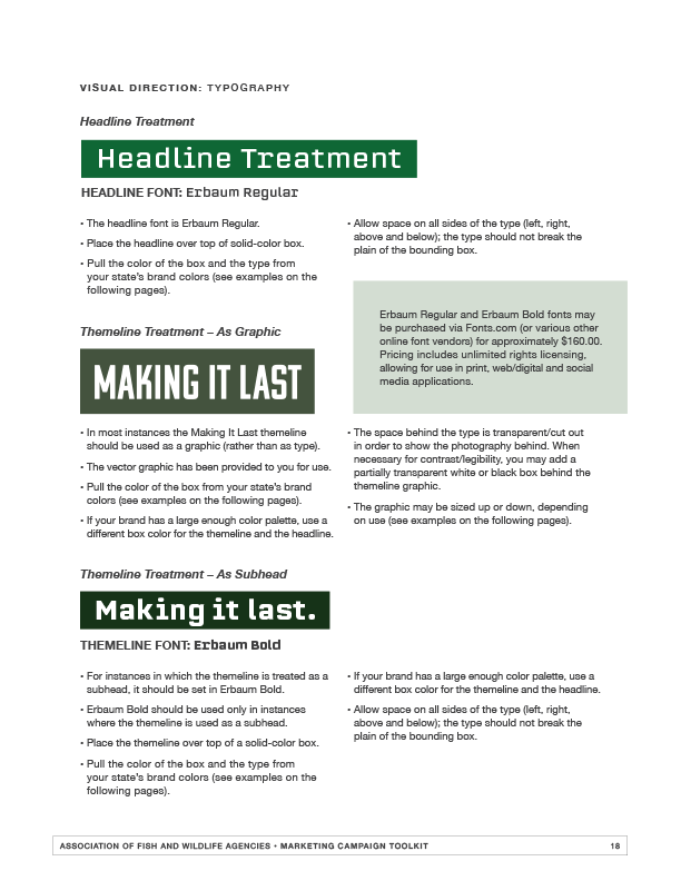 AFWA campaign tool kit sample page with typography guidance.