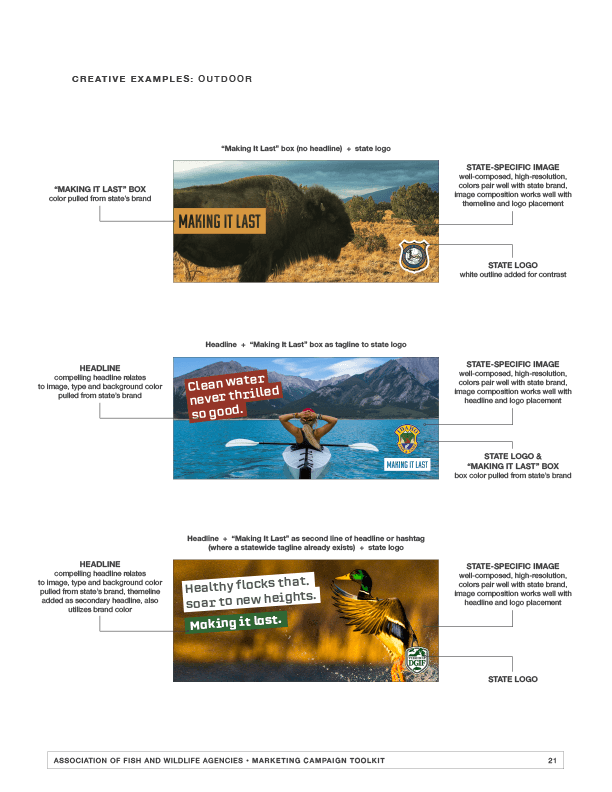 AFWA campaign tool kit sample page with example outdoor ads.