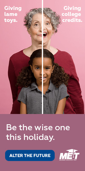 """Web ad for MET; two photos of a grandmother and grand daughter side-by-side with a line down the center. On the left, they look disappointed and the text reads, """"Giving lame toys."""" On the right, they look happy and the text reads, """"Giving college credits."""""""