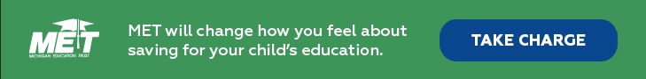 """Web ad for MET; the text reads, """"MET with change how you feel about saving for your child's education."""""""