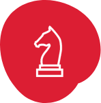 Line illustration of a chess piece.