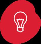 Line illustration of a lightbulb.