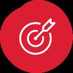 Line illustration of a bullseye with arrow hitting the center.
